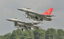 Two Danish F-16 taking off from Sigonella Air Base