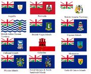 British overseas territories flags with alternate union flag (no scotland)