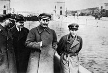 Voroshilov, Molotov, Stalin, with Nikolai Yezhov.jpg
