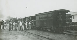 Missionaries and steam train, Congo, ca. 1900-1915 (IMP-CSCNWW33-OS10-83)