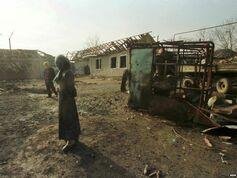 Разрушенный боевиками село в Дагестане