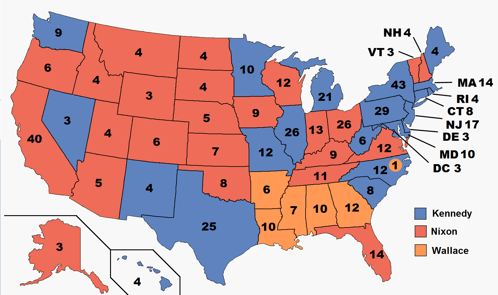 Presidential Election Results Map Blue Denotes Those Won By Kennedy McCarthy Red States Nixon Agnew Orange