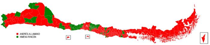 Mapa de la Elección Presidencial de Chile de 2014 (SV)