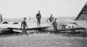 Invasion of CSR - German soldiers inspecting a shot down Soviet SB-2 bomber (WFAC)