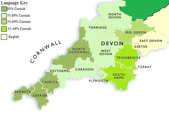 Map Of Cornwall And Devon Image   Linguistic Map of Devon and Cornwall. | Alternative  Map Of Cornwall And Devon