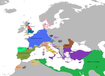 Año 800 mapa de Europa