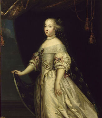 Portrait of Queen Marie Thérèse of France in white wearing Fleur-de-lis by an anonymous member of the French School