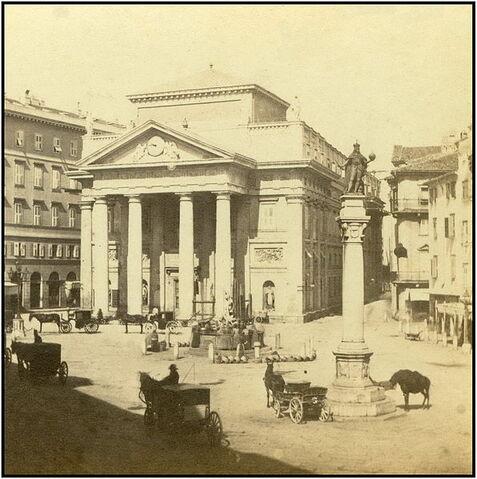 File:Trieste Trst oko 1880. Pazza della Borsa con la statua di Carlo VI..jpg