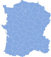 Blank map of France with departments in blue and white (Imperial Machines)