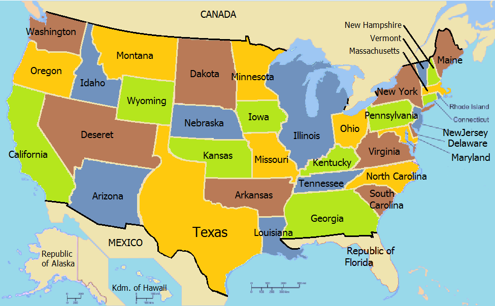 United States Of America French America Alternative History - United states map in french