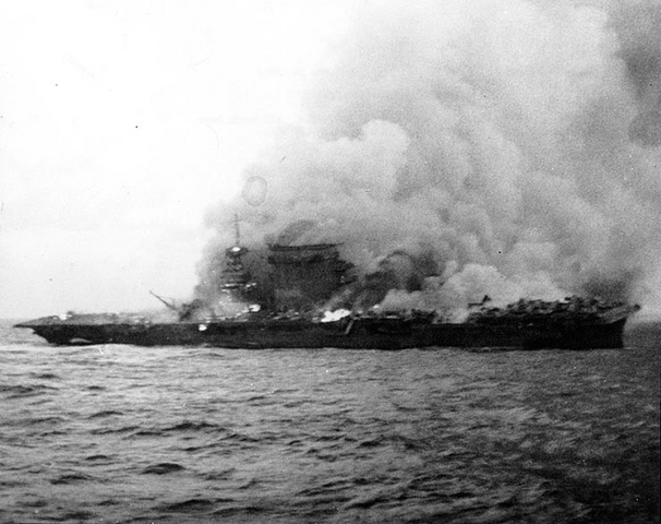 File:USS Lexington sinking, 1942.png