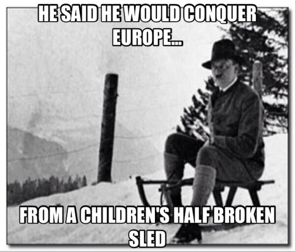 Hitler on sled