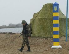 Украинский пограничник на острове Тузла