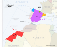 Map of Spain and Western Sahara (Russian America)