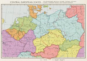 Karte Mitteleuropa (1950 ohne Deutschland)
