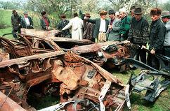 Взорванный автомобиль Закаева