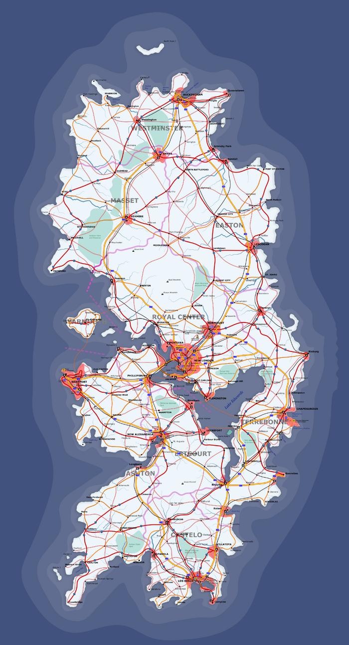 Escadian Cities Map (Atlantic Ocean Islands)