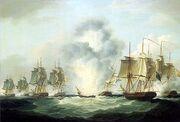 Four frigates capturing Spanish treasure ships (5 October 1804) by Francis Sartorius, National Maritime Museum,UK jpg