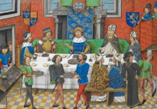 John of Gaunt, Duke of Lancaster dining with the King of Portugal - Chronique d' Angleterre (Volume III) (late 15th C), f.244v - BL Royal MS 14 E IV