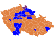 Czech parliament elections districts winner map 2010