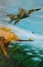 Pintura de un Mirage F-1JA derribando un Su-22