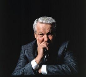 Борис Ельцин на чёрном фоне
