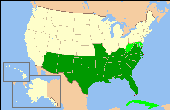 Image   Confederate States of America (16 states) map.png