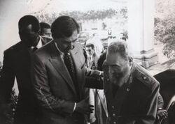 Cuauhtémoc Cárdenas y Fidel Castro