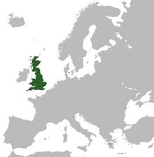 Europe map showing gb