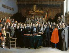 991px-Westfaelischer Friede in Muenster (Gerard Terborch 1648)
