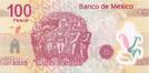 Billete $100 Mexico Centenario Reverso