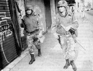 Pennsylvania National Guard personnel patrolling Hazleton