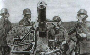 Русские солдаты за автоматической пушкой