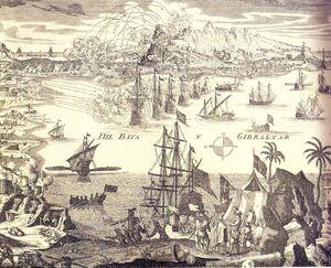 German print of the 1727 Gibraltar Siege