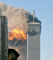 North face south tower after plane strike 9-11