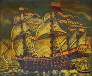 A Adler von Luebeck erbaut 1567 auf einem Bild in der Schifferge 1