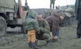 Встреча Грознецев российскими солдатами