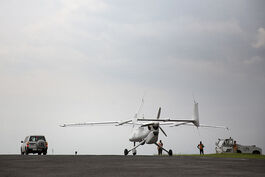 A UN Unmanned-Unarmed Aerial Vehicles (UAV) is taxiing in at Goma airport following a successful flight during an official ceremony with USG for UN Peacekeeping Operations Herve Ladsous (11189517904)
