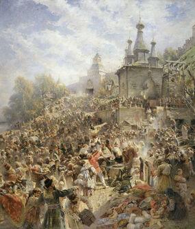 Минин на площади Нижнего Новгорода, призывающий народ