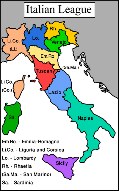 Map Italian League (Vegetarian World)