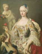 Circa 1750 portrait painting of the Infanta Maria Antonia of Spain (1729-1785) by Jacopo Amigoni (Prado)