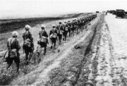 Czechoslovak soldiers advancing during the Prchala offensive (WFAC)