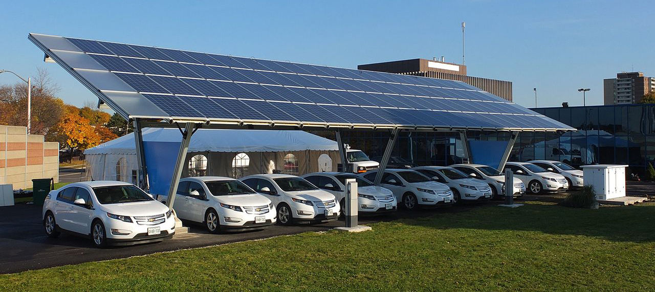 An a solar powered charging station in Yorktown