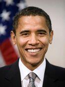 Poster-sized portrait of Barack Obama