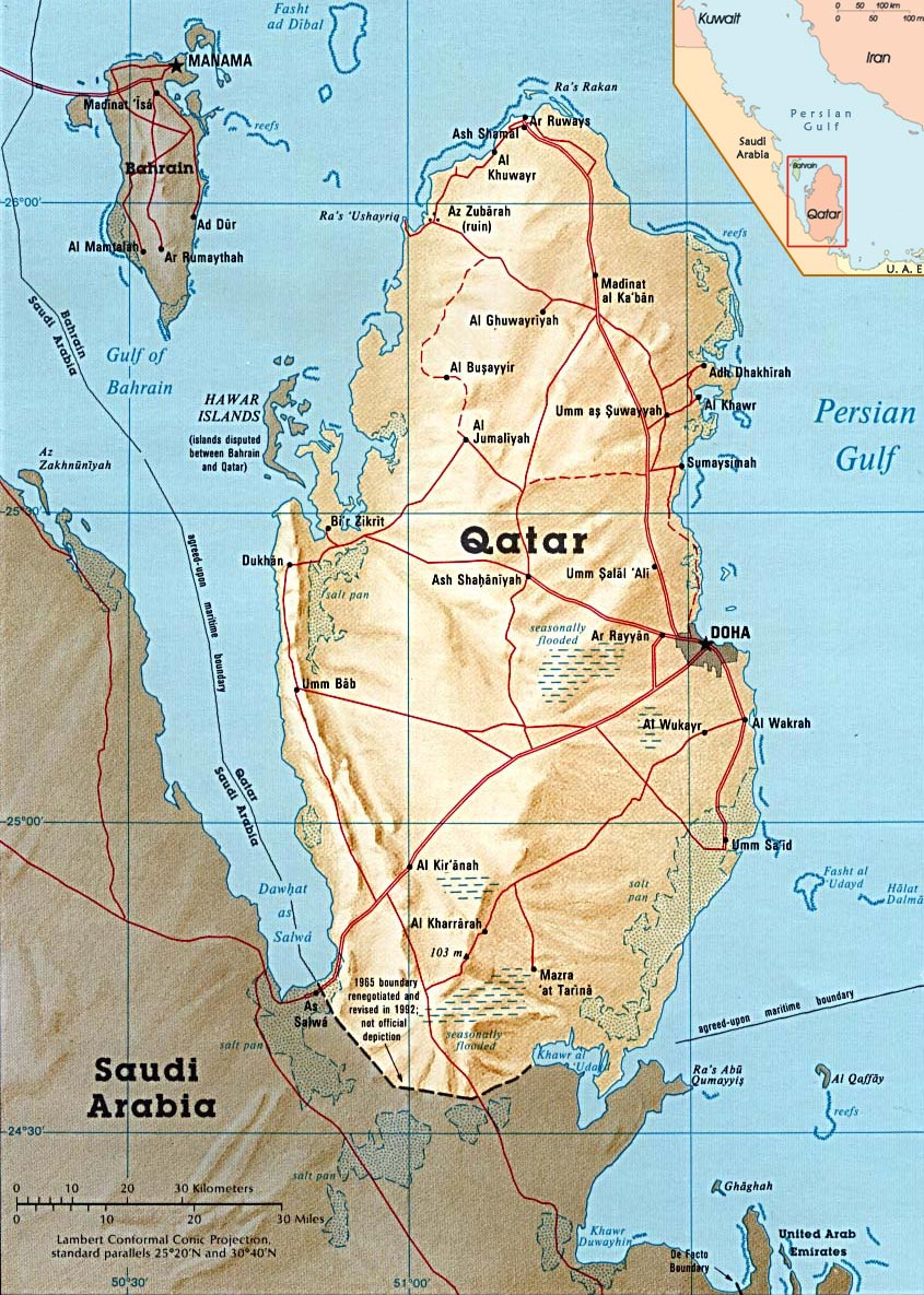Qatar Country World Map on