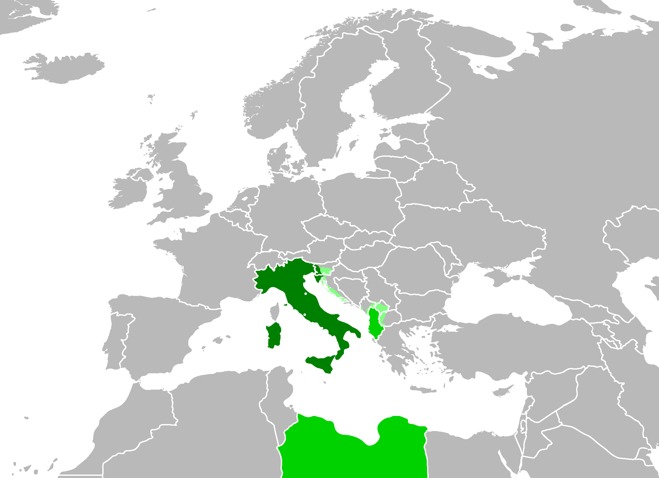 Fascist italy the empire survives alternative history fandom 250pxcenteraltlocation of italy dark green represents mainland italy green represents albania and libya and light green represents the land italy gumiabroncs Image collections