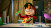 Alvin with Science beakers