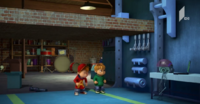 Alvin and Theodore at the entrance of Simon's secret lab room