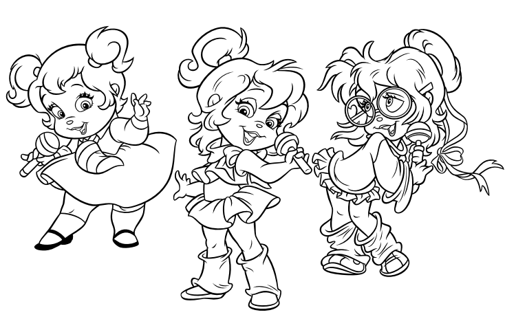 The chipettes colouring page png
