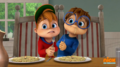 Alvin and Simon fighting over spaghetti.png